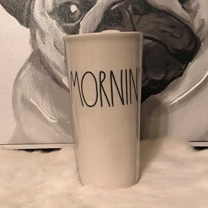 Rae Dunn MORNIN coffee travel mug cup ceramic